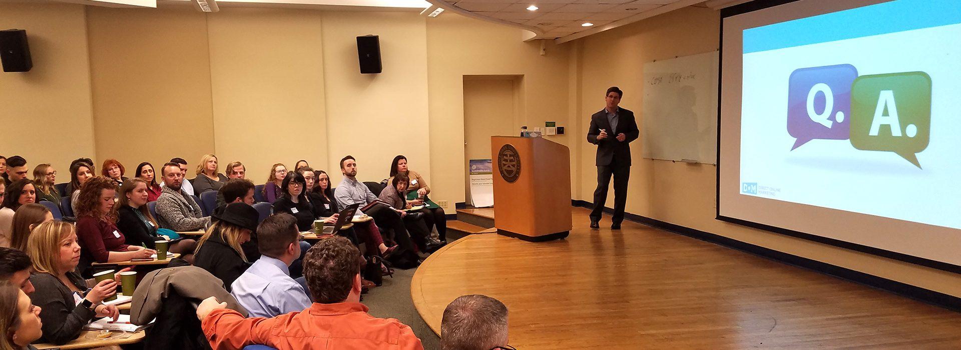 man speaking presentation