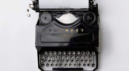 type writer machine on a white table